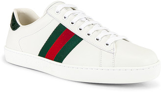 Gucci New Ace Sneaker in White & Red & Green | FWRD