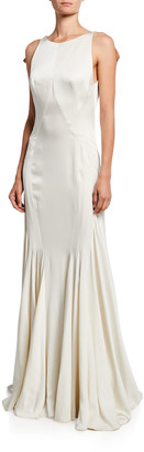 Zac Posen Backless Satin-Back Crepe Gown