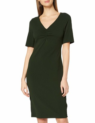 Dorothy Perkins Women's Khaki Ruched V Neck Bodycon Dress Casual 10
