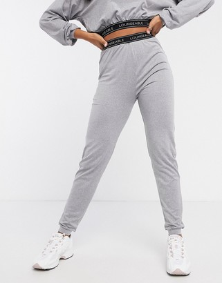 Loungeable slim lounge pants with logo elastic waist in grey marle