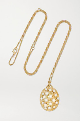 Yvonne Léon 9-karat Gold, Glass And Pearl Necklace
