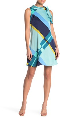 London Times Geometric Tie Neck Dress (Petite)