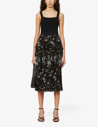 Ted Baker Betee tiered floral-print crepe midi dress