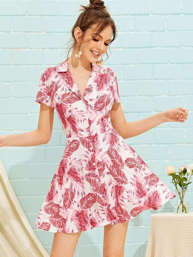 Shein Tropical Print Button Up Shirt Dress