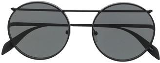 Alexander McQueen Round-Frame Aviator Sunglasses