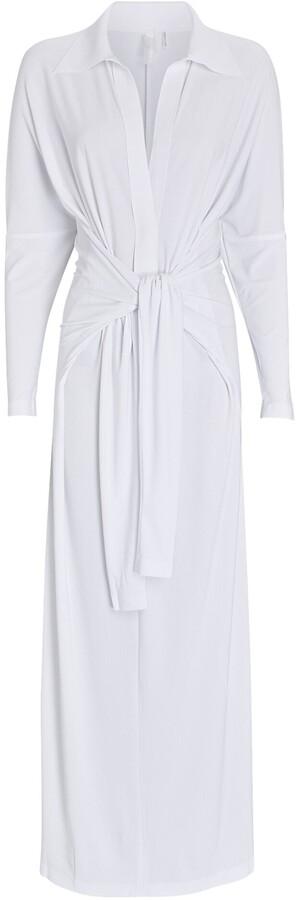 Thumbnail for your product : Norma Kamali Jersey Maxi Wrap Shirt Dress