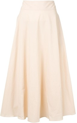 Mark Kenly Domino Tan Side-Pocket Midi Skirt