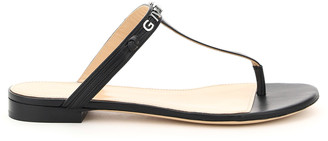 Givenchy THONG MULES LETTERING 35 Black Leather