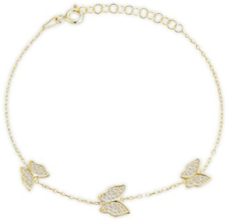Chloe & Madison 14K Yellow Gold Vermeil, Sterling Silver & Crystal Butterfly Bracelet