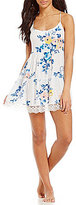 In Bloom by Jonquil Sugar Magnolia Scalloped Lace-Trimmed Floral Crepe Chemise