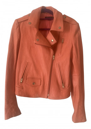Theory Orange Leather Jackets