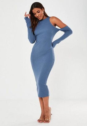 Missguided Blue Rib Cold Shoulder Midaxi Dress