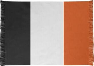 Baltimore Striped Black/White/Orange Area Rug East Urban Home Non-Skid Pad Included: No