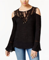 Thalia Sodi Crocheted Cold-Shoulder Peasant Top, Only at Macy's