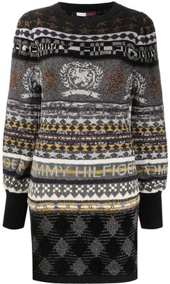 Tommy Hilfiger Mix-Knit Long Sleeve Mini Dres