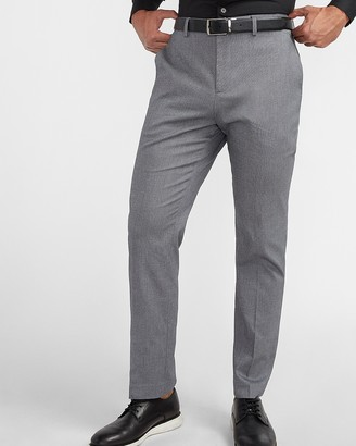 Express Classic Textured Gray Cotton-Blend Suit Pants