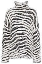 By Malene Birger Zebra-print Jacquard-knit Cotton-blend Turtleneck Sweater