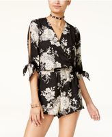 Be Bop Juniors' Printed Lace-Trim Split-Sleeve Romper