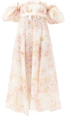 Giambattista Valli Puff-sleeved Floral-print Georgette Gown - Beige Print