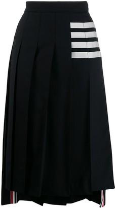 Thom Browne 4-Bar stripe pleated midi skirt