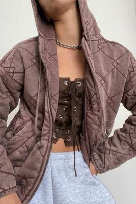 Urban Outfitters Quilted Jersey Jacket - Brown XS at