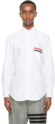 Thom Browne White Oxford Grosgrain Pocket Shirt`