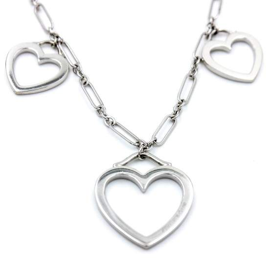 Tiffany & Co. 18K White Gold Triple Hearts Pendant Necklace