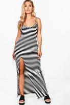 Boohoo Plus Sadie Stripe Strappy Split Maxi Dress