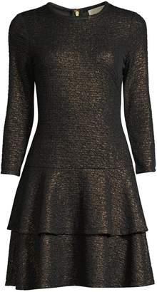 MICHAEL Michael Kors Shimmer Double Tier Flounce Dress