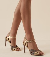 Reiss Savona Metallic - Strappy High Heeled Sandals in Metallic