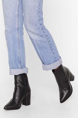 Nasty Gal Womens leather almond toe block heel ankle boot - black - 3