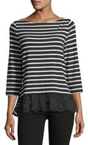 Kate Spade Striped Mixed-Media Top