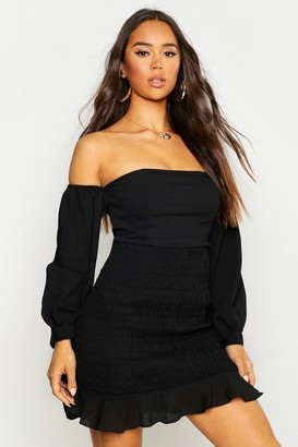 boohoo Shirred Long Sleeve Crinkle Bodycon Mini Dress