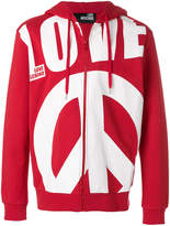 Love Moschino oversized slogan zipped front hoodie