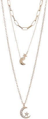 Area Stars Moons Layered Necklace Set