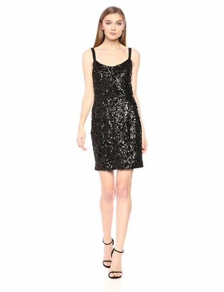 Dress the Population Women's Lindsay Sequin Sleeveless Fitted Mini Sheath Dress