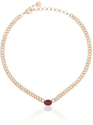 Shay 18kt Rose Gold Ruby Diamond Pave Necklace