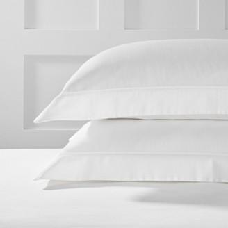 The White Company Blake Oxford Pillowcase with Border - Single, White, Large Square