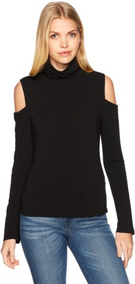 EVIDNT Women's Cold Shoulder with Turtleneck Sweater
