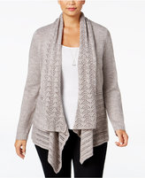 Karen Scott Plus Size Open-Front Pointelle Cardigan, Only at Macy's
