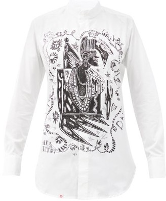 Charles Jeffrey Loverboy Dander-print Cotton-poplin Shirt - White