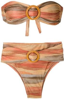 BRIGITTE Striped Bandeau Bikini Set
