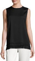 DKNY Sleeveless Crepe Fringe Tunic, Black
