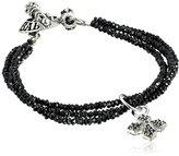 King Baby Studio Three-Strand Black Spinel Bracelet with Pave Black Cubic-Zirconia MB Cross