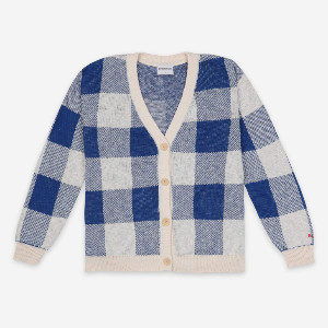 Bobo Choses Knitted Gingham Cardigan - XS | cotton | blue - Blue/Blue