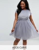Asos Premium Lace Tulle Mini Prom Dress