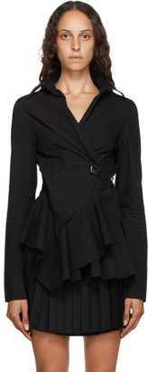 Marques Almeida Black Poplin Safety Pin Shirt