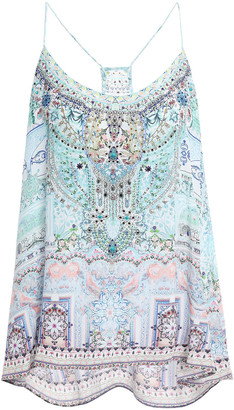Camilla Lovers Retreat Crystal-embellished Printed Silk Crepe De Chine Camisole