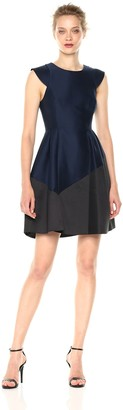 Halston Women's Cap Sleeve Round Neck Silk Faille Dress