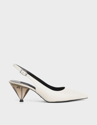 Charles & Keith Leather Cone Heel Pumps